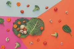 Lägenhet som är lekmanna- av rå grönsaker på abstrakt bakgrund Royaltyfria Foton