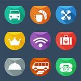 Lägenhet UI för uppsättning för symboler för hotellservice Arkivbilder
