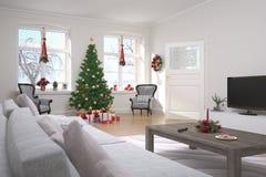 Lägenhet - vardagsrum - jul Arkivbilder