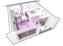 Lägenhetdiagram med underfloor uppvärmning royaltyfri illustrationer
