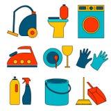 Lägenheten färgade symbolen av lokalvårdservice för rengöringsdukbaner, webbplatser, infographics Royaltyfria Bilder