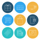 Lägenheten fodrar shoppingsymboler, ecommerce Fotografering för Bildbyråer