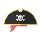 Lägenheten piratkopierar isolerade vektorillustrationen för hatten symbolen Stock Illustrationer