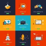 Lägenheten planlade affärsidéer för innovation stock illustrationer