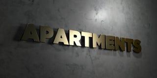 Lägenheter - guld- text på svart bakgrund - 3D framförd fri materielbild för royalty vektor illustrationer
