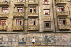 Lägenheter Hongkou Shanghai Kina för turistDuolon väg royaltyfri bild