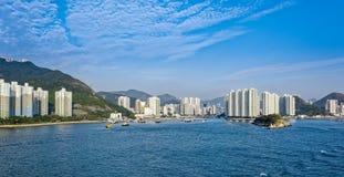 Lägenheter i Aberdeen Hong Kong byggande i kärret Shui utformar Arkivbild