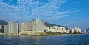Lägenheter i Aberdeen Hong Kong byggande i kärret Shui utformar Arkivfoton