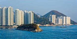 Lägenheter i Aberdeen Hong Kong byggande i kärret Shui utformar Arkivbilder