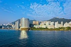 Lägenheter i Aberdeen Hong Kong byggande i kärret Shui utformar Royaltyfri Fotografi