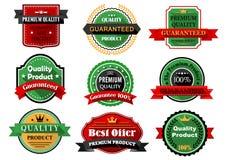 Lägenhetetiketter för bästa erbjudande och för kvalitets- produkt Arkivbild