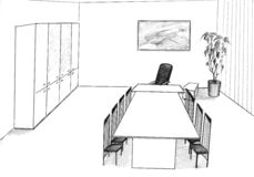 lägenhetkontor stock illustrationer
