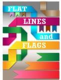 Lägenhetlinje- och flaggapacke Arkivfoto