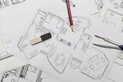 Lägenhetplan Royaltyfria Bilder