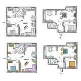 Lägenhetplanet med möblemang, vektor skissar Arkivfoton