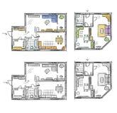 Lägenhetplanet med möblemang, vektor skissar Arkivfoto