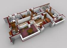 Lägenhetritningar som höjas i 3d Arkivfoton