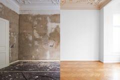 Lägenhetrum under renovering, före och efter återställande/renovering arkivbilder
