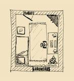lägenhetsanering skissar Arkivfoto