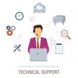 Lägenhetstil för teknisk service Kvinna och symboler Stock Illustrationer