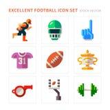 Lägenhetsymboler för amerikansk fotboll Arkivbilder