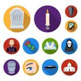Lägenhetsymboler för begravnings- ceremoni i uppsättningsamlingen för design Begravning- och attributvektorsymbolet lagerför reng vektor illustrationer