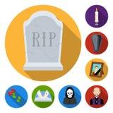 Lägenhetsymboler för begravnings- ceremoni i uppsättningsamlingen för design Begravning- och attributvektorsymbolet lagerför reng royaltyfri illustrationer