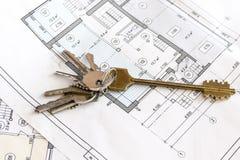 Lägenhettangenter på teckningarna, lägenhetplan, stuga Royaltyfria Foton