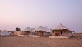 Läger i den Thar öknen i Indien Arkivbild