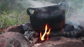 Lägerbrand nära berg sömlös ögla för sjöskymning lager videofilmer