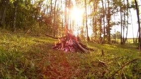 Lägereld framme av solen i den Podillya regionen, Khmelnytskyi, Ukraina lager videofilmer