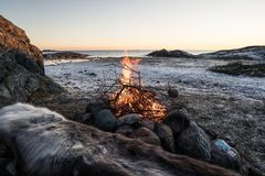 Lägereld i Norge Fotografering för Bildbyråer