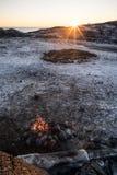Lägereld i Norge Arkivfoton