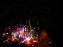 Lägereld och marshmallow Arkivbild