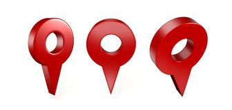 Lägesymbolen 3d framför illustrationen Stifttecken som isoleras på vit bakgrund Navigeringöversikten, GPS, riktningen, stället, k Royaltyfria Bilder