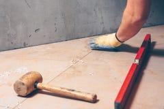 Lägga dyra högvärdiga tegelplattor på golvet royaltyfri bild
