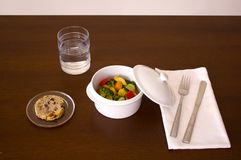 Lägga in med chickien och grönsaker royaltyfri foto