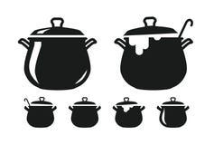 Lägga in med locket, panna av soppakonturn Matlagning, kokkonst, matlagning, kulinarisk konst, köksymbol eller logo också vektor  Royaltyfri Bild