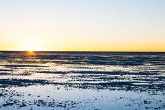 01 06 2000 läggande för lager för bolivia de avstånd kvinnliglake som är lone av över gå vatten salar för salt tunn handelsresand Arkivfoto