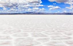 01 06 2000 läggande för lager för bolivia de avstånd kvinnliglake som är lone av över gå vatten salar för salt tunn handelsresand Royaltyfria Foton