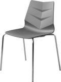Lägger benen på ryggen plast- stol för grå färg med krom, den moderna formgivaren Stol som isoleras på vit bakgrund vektor för mö Royaltyfri Foto