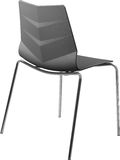 Lägger benen på ryggen plast- stol för grå färg med krom, den moderna formgivaren Stol som isoleras på vit bakgrund vektor för mö Royaltyfria Bilder