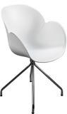 Lägger benen på ryggen plast- stol för vit färg med krom, den moderna formgivaren Stol som isoleras på vit bakgrund Royaltyfri Bild
