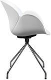 Lägger benen på ryggen plast- stol för vit färg med krom, den moderna formgivaren Stol som isoleras på vit bakgrund Royaltyfria Bilder