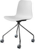 Lägger benen på ryggen plast- stol för vit färg med krom, den moderna formgivaren Svängtappstol som isoleras på vit bakgrund Royaltyfria Bilder