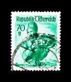 Lägre Österrike, Wachau, provinsiella dräkter 1948/58 serie, circa Royaltyfri Fotografi