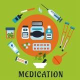 Läkarbehandlingsymboler med droger och hjälpmedel Royaltyfri Foto