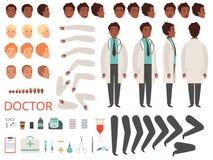 Läkareanimering Sats för skapelse för vektor för kroppsdelar och för kläder för personal för medicin för doktorsteckensjukhus vektor illustrationer