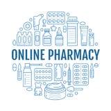 Läkarundersökning apotekaffischmall Vektormedikamentlinje symboler, illustration av doseringformer - minnestavla, kapslar, preven stock illustrationer