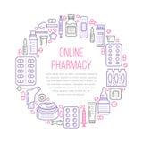 Läkarundersökning apotekaffischmall Vektormedikamentlinje symboler, illustration av doseringformer - minnestavla, kapslar, preven vektor illustrationer